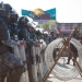 barbed wire barricade - kathmandu, nepal